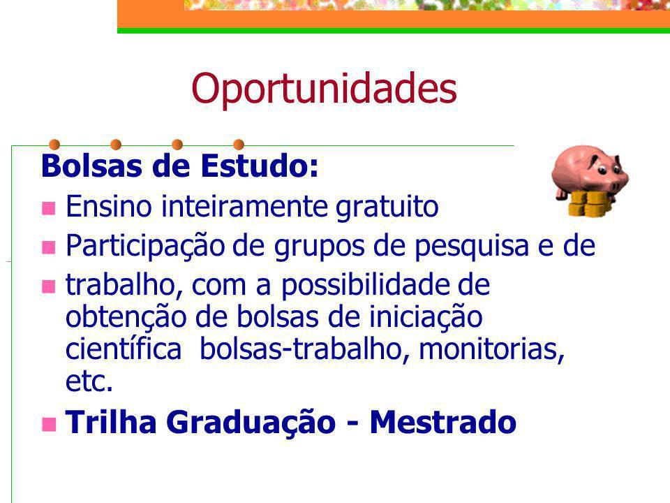 Oportunidades Bolsas de Estudo: Trilha Graduação - Mestrado