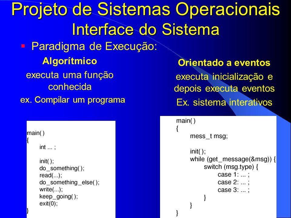Projeto de Sistemas Operacionais Interface do Sistema
