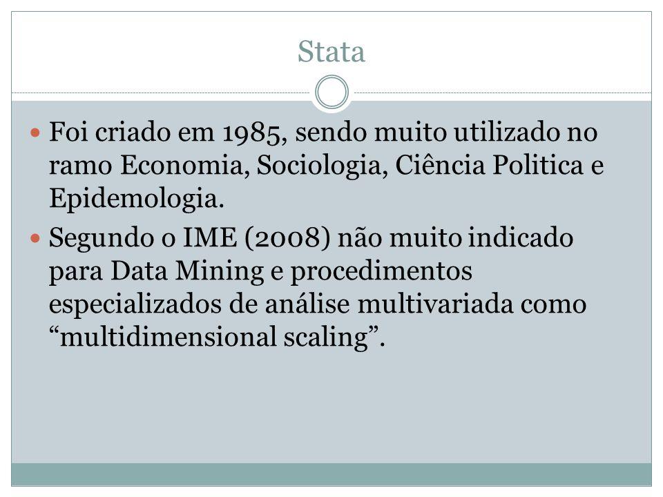 Stata Foi criado em 1985, sendo muito utilizado no ramo Economia, Sociologia, Ciência Politica e Epidemologia.