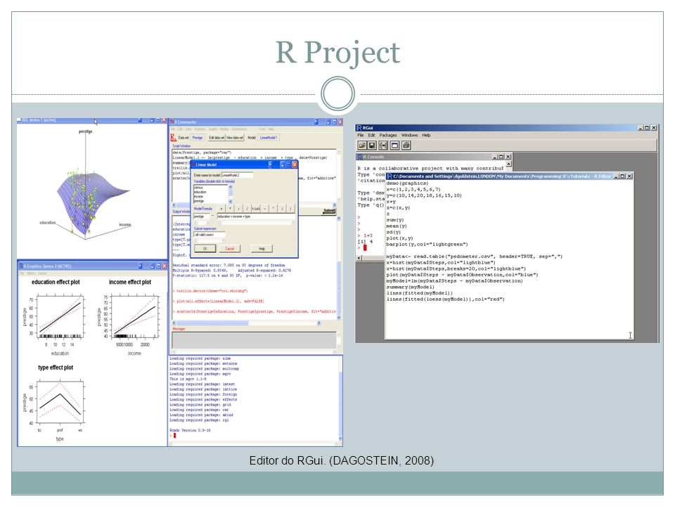 R Project Editor do RGui. (DAGOSTEIN, 2008)