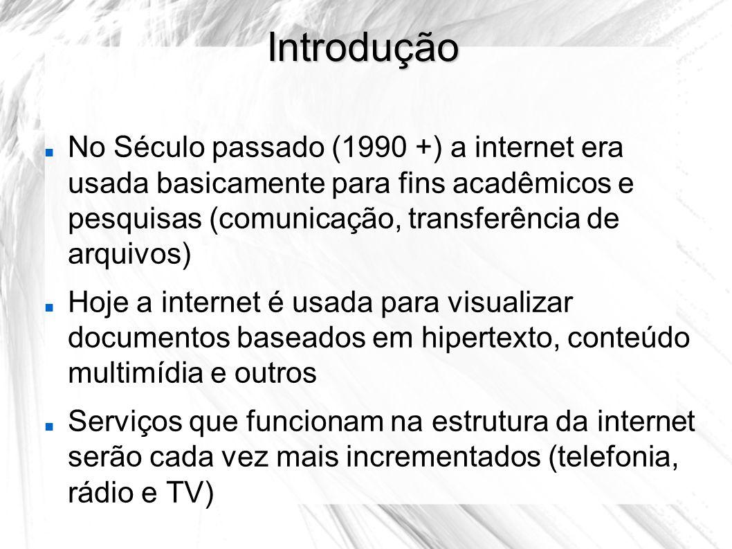 Introdução No Século passado (1990 +) a internet era usada basicamente para fins acadêmicos e pesquisas (comunicação, transferência de arquivos)