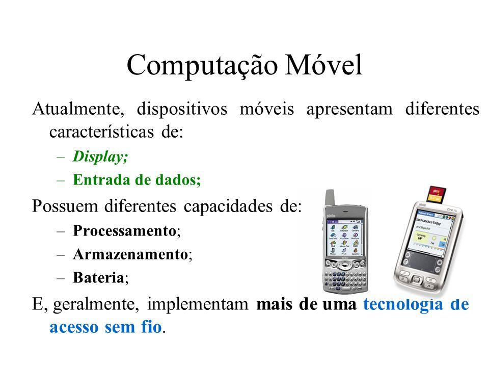 Computação Móvel Atualmente, dispositivos móveis apresentam diferentes características de: Display;