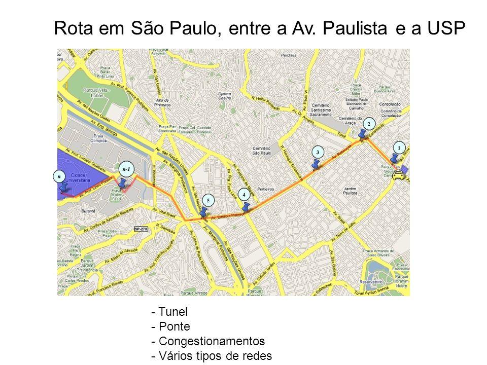 Rota em São Paulo, entre a Av. Paulista e a USP