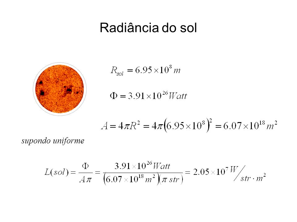 Radiância do sol supondo uniforme