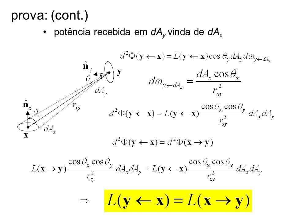 prova: (cont.) potência recebida em dAy vinda de dAx