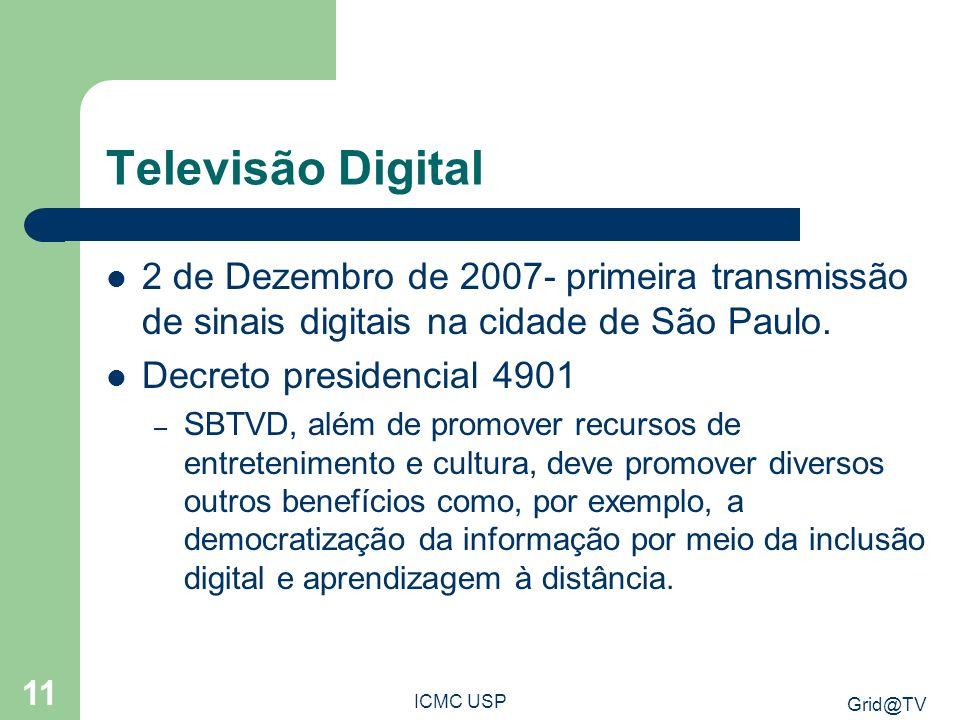 Televisão Digital 2 de Dezembro de 2007- primeira transmissão de sinais digitais na cidade de São Paulo.