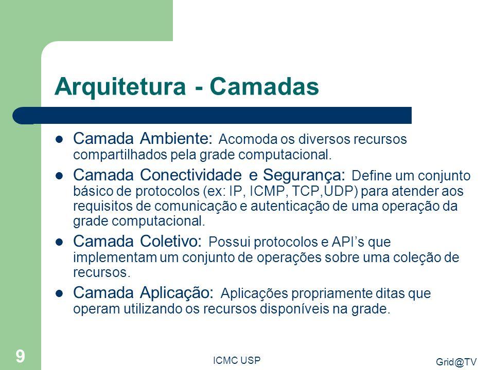 Arquitetura - Camadas Camada Ambiente: Acomoda os diversos recursos compartilhados pela grade computacional.