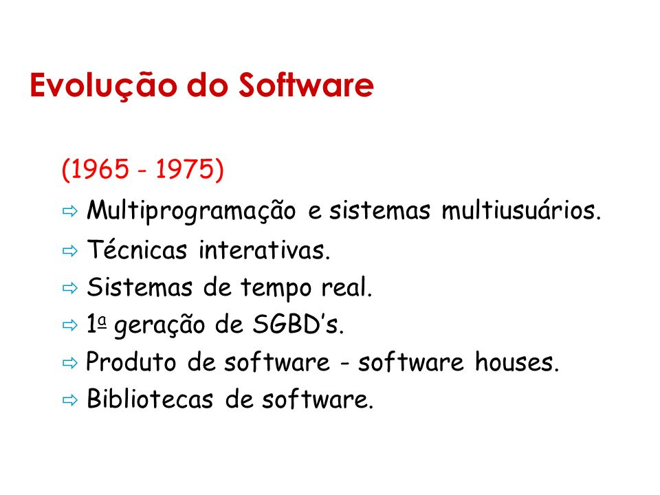 Evolução do Software (1965 - 1975)