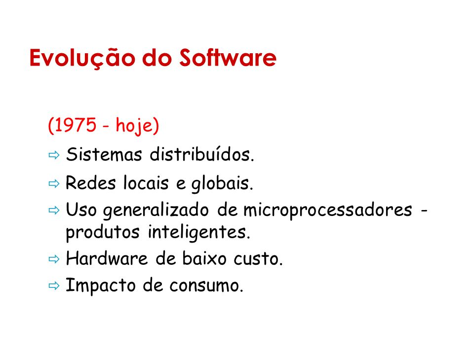 Evolução do Software (1975 - hoje) Sistemas distribuídos.