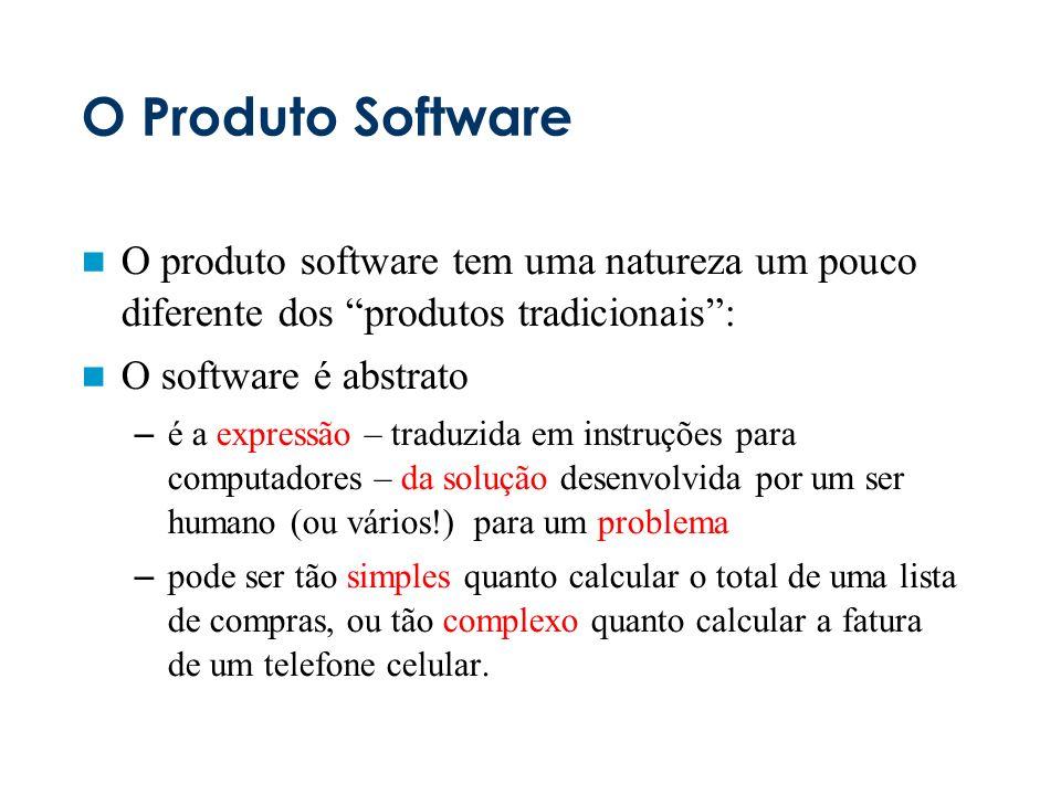 O Produto Software O produto software tem uma natureza um pouco diferente dos produtos tradicionais :