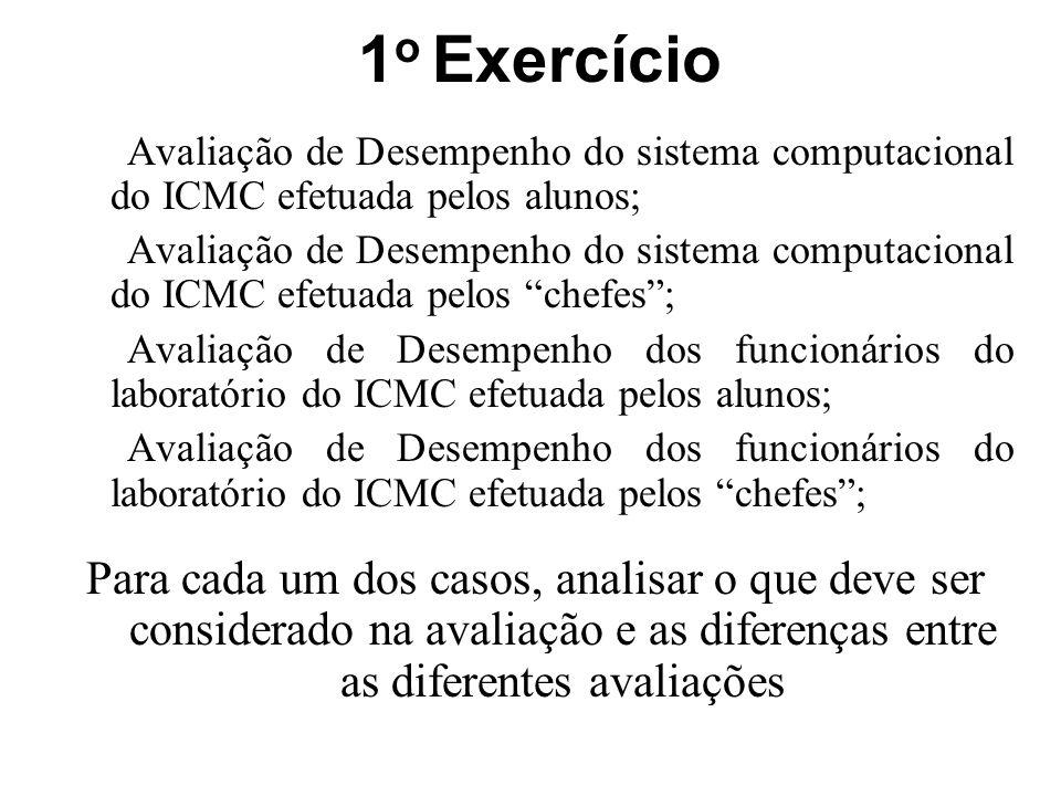1o Exercício Avaliação de Desempenho do sistema computacional do ICMC efetuada pelos alunos;