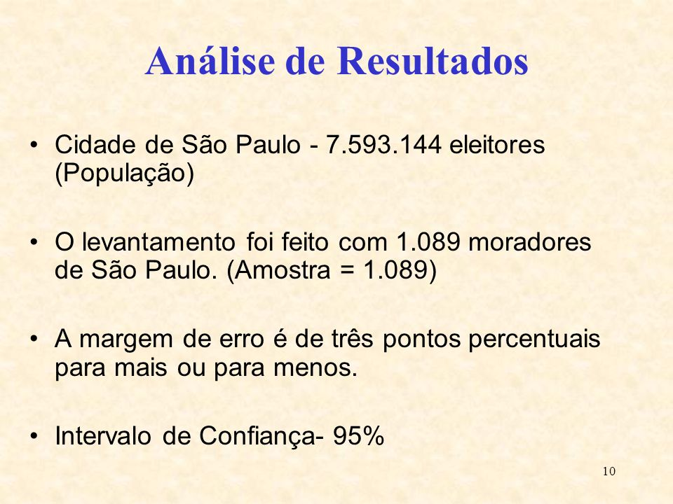 Análise de ResultadosCidade de São Paulo - 7.593.144 eleitores (População)