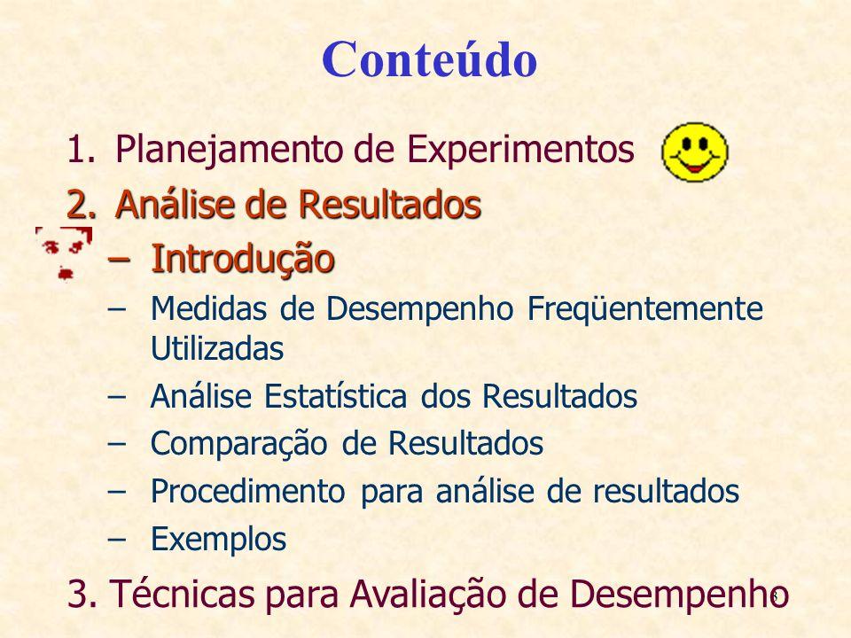 Conteúdo Planejamento de Experimentos Análise de Resultados Introdução