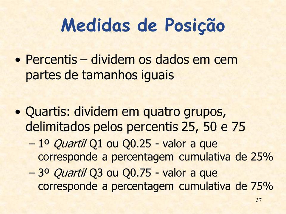 Medidas de Posição Percentis – dividem os dados em cem partes de tamanhos iguais.