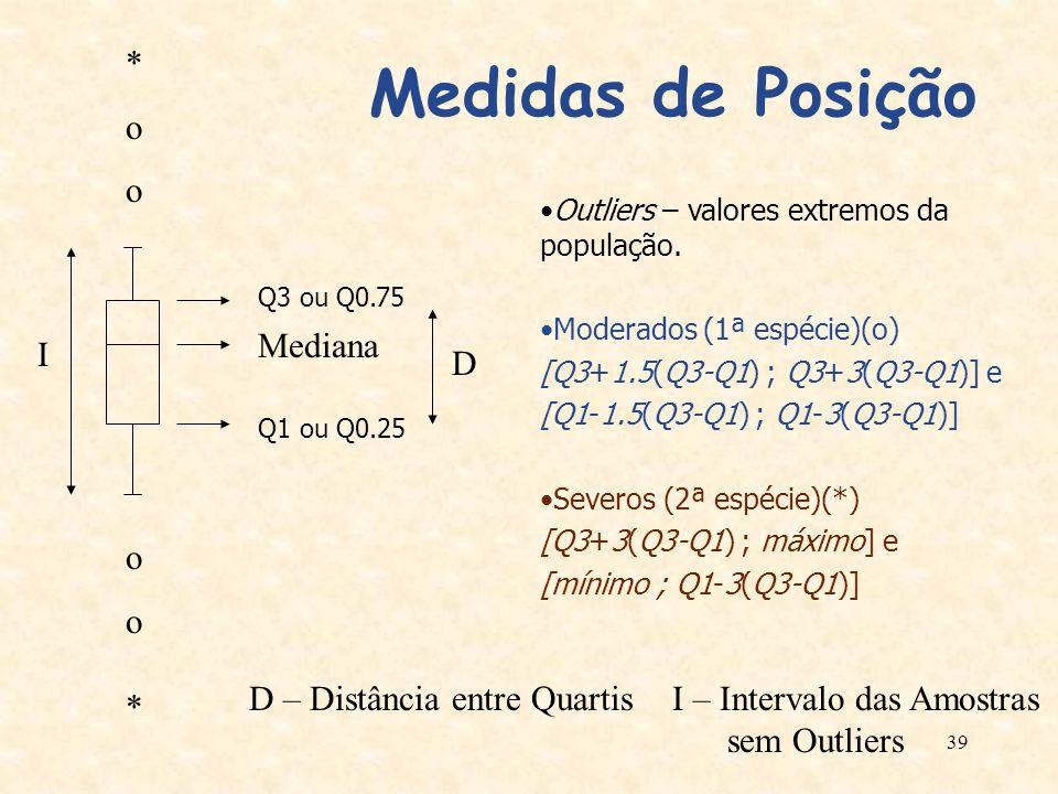 Medidas de Posição * o Mediana I D o D – Distância entre Quartis