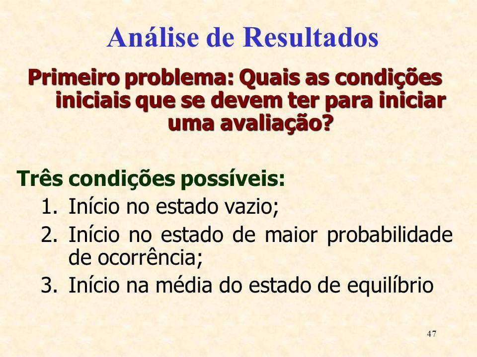 Análise de Resultados Primeiro problema: Quais as condições iniciais que se devem ter para iniciar uma avaliação