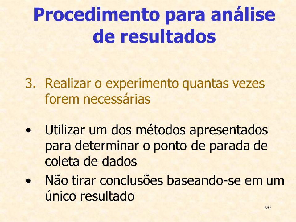 Procedimento para análise de resultados