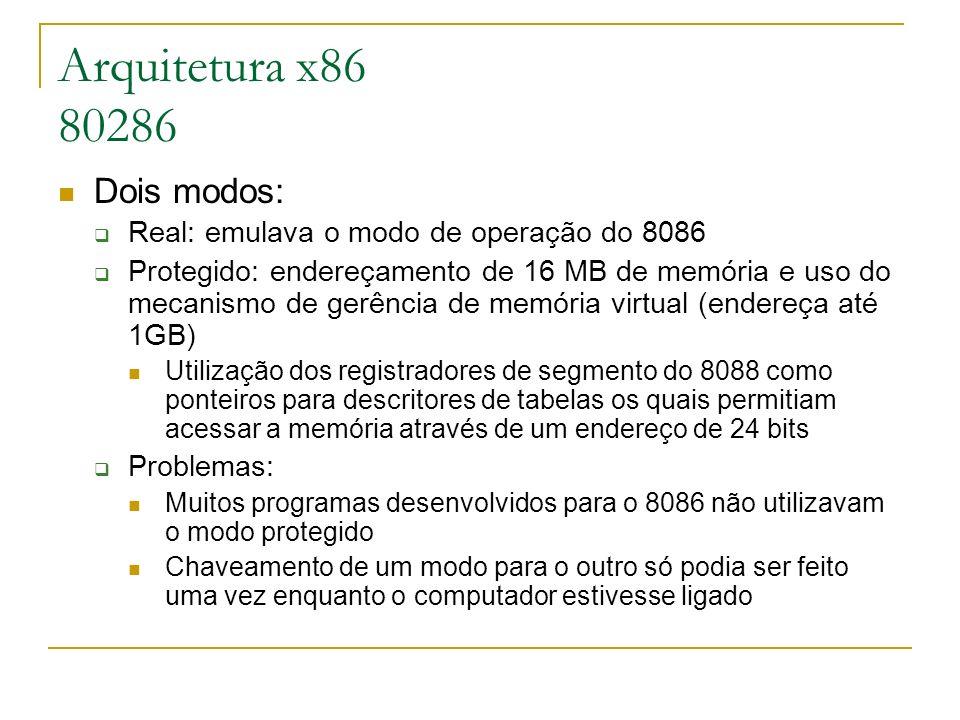 Arquitetura x86 80286 Dois modos: