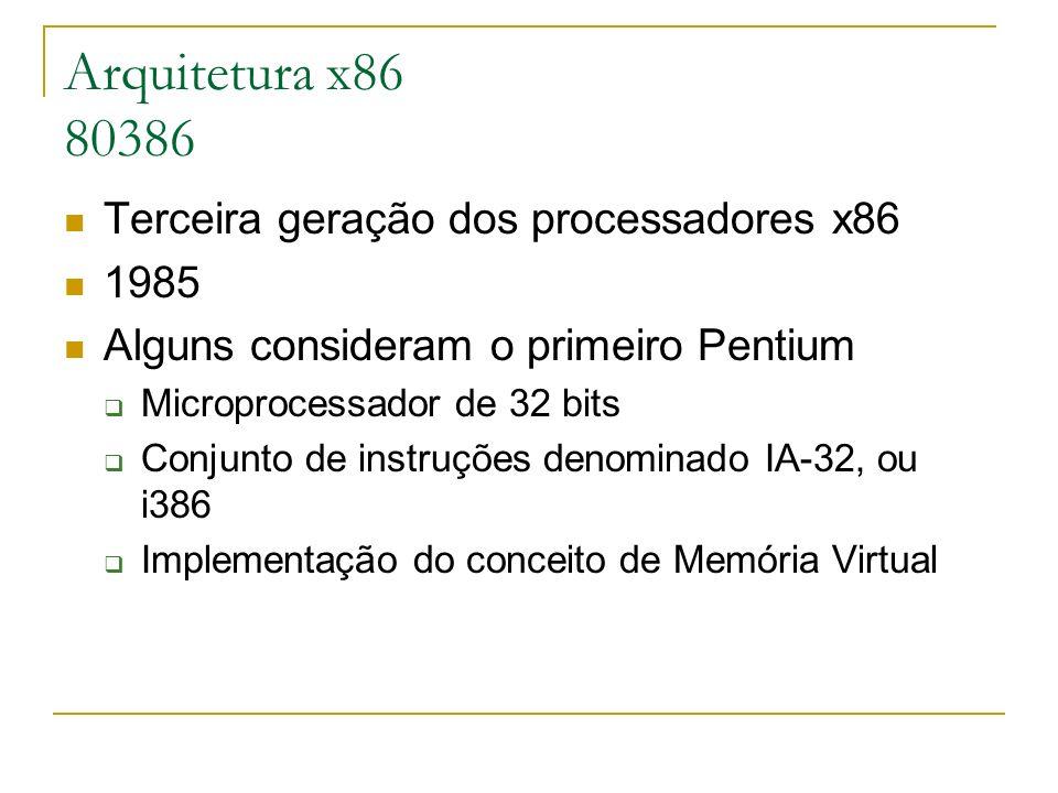 Arquitetura x86 80386 Terceira geração dos processadores x86 1985