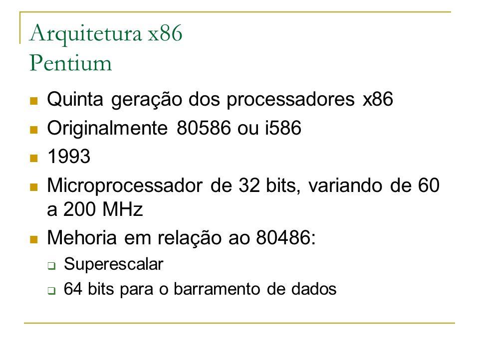 Arquitetura x86 Pentium Quinta geração dos processadores x86