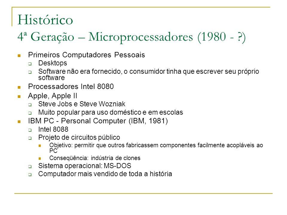 Histórico 4ª Geração – Microprocessadores (1980 - )