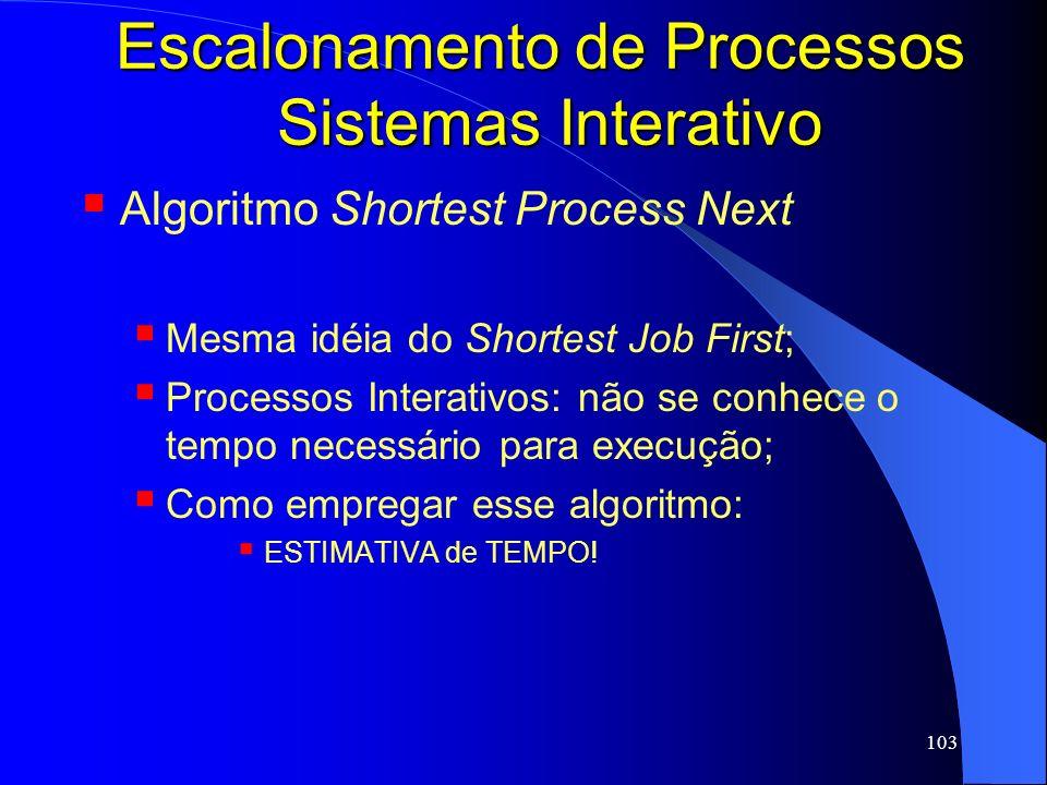 Escalonamento de Processos Sistemas Interativo