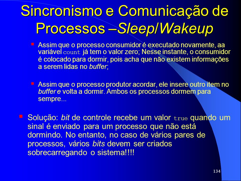 Sincronismo e Comunicação de Processos –Sleep/Wakeup