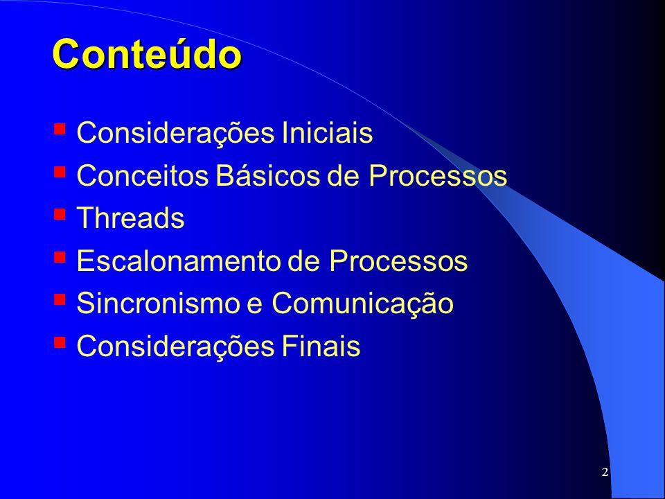 Conteúdo Considerações Iniciais Conceitos Básicos de Processos Threads