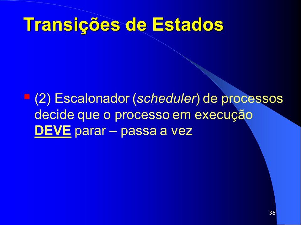 Transições de Estados (2) Escalonador (scheduler) de processos decide que o processo em execução DEVE parar – passa a vez.