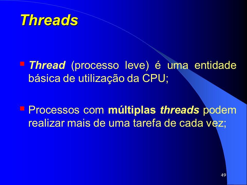 Threads Thread (processo leve) é uma entidade básica de utilização da CPU;