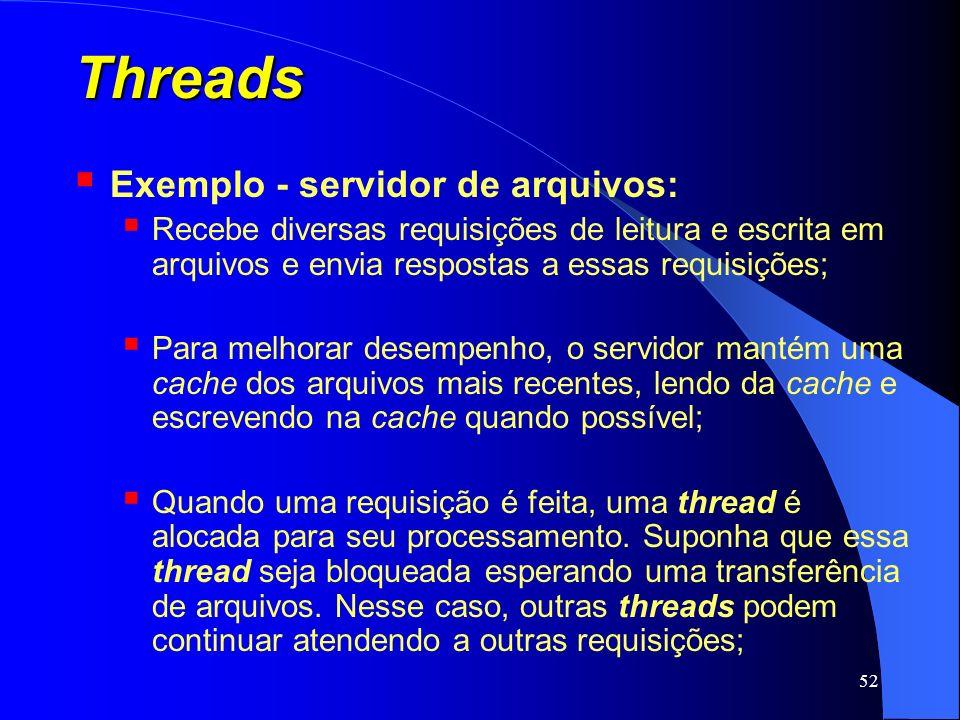 Threads Exemplo - servidor de arquivos:
