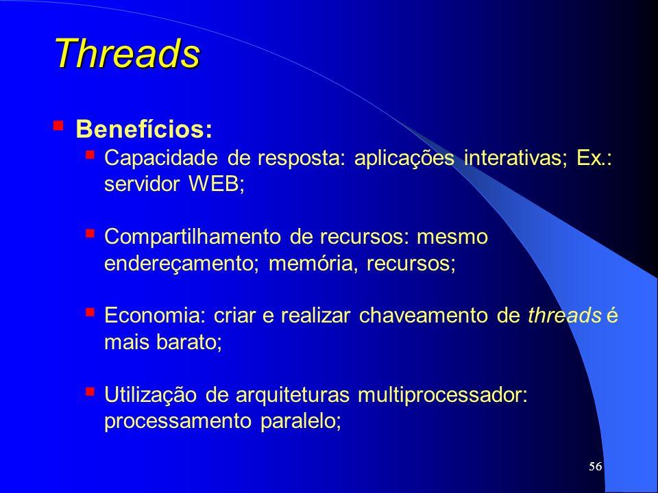 ThreadsBenefícios: Capacidade de resposta: aplicações interativas; Ex.: servidor WEB;