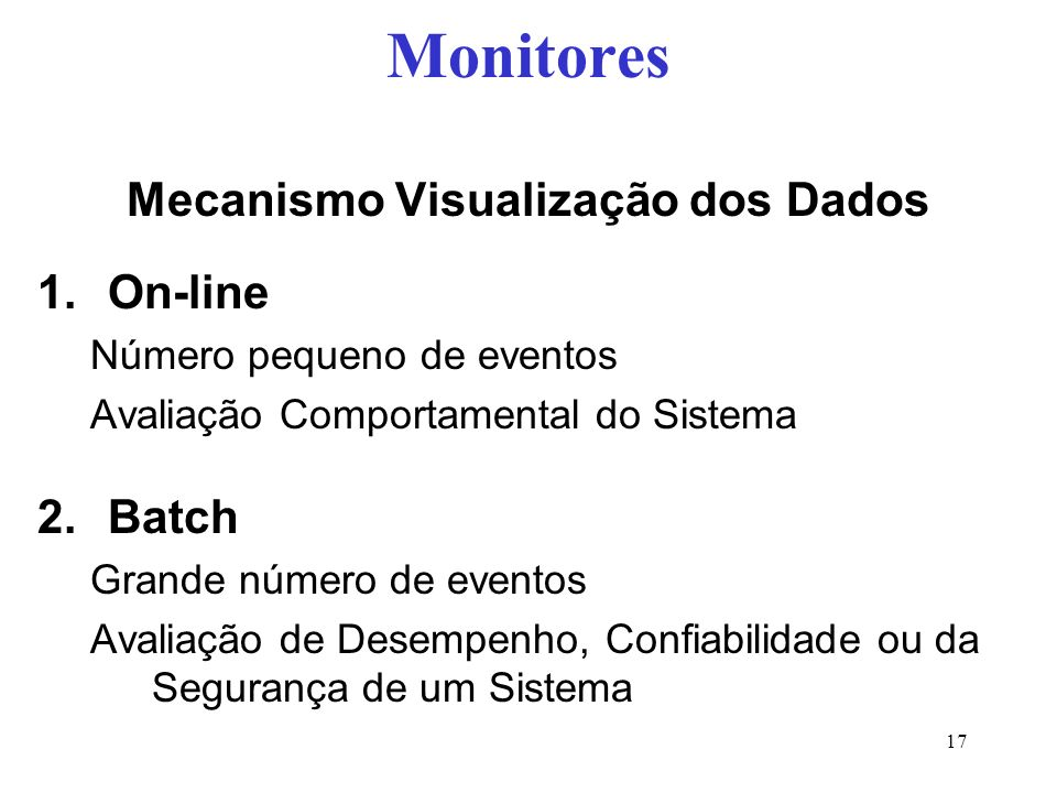 Mecanismo Visualização dos Dados