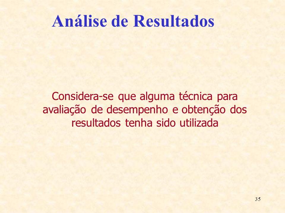 Análise de Resultados Considera-se que alguma técnica para avaliação de desempenho e obtenção dos resultados tenha sido utilizada.