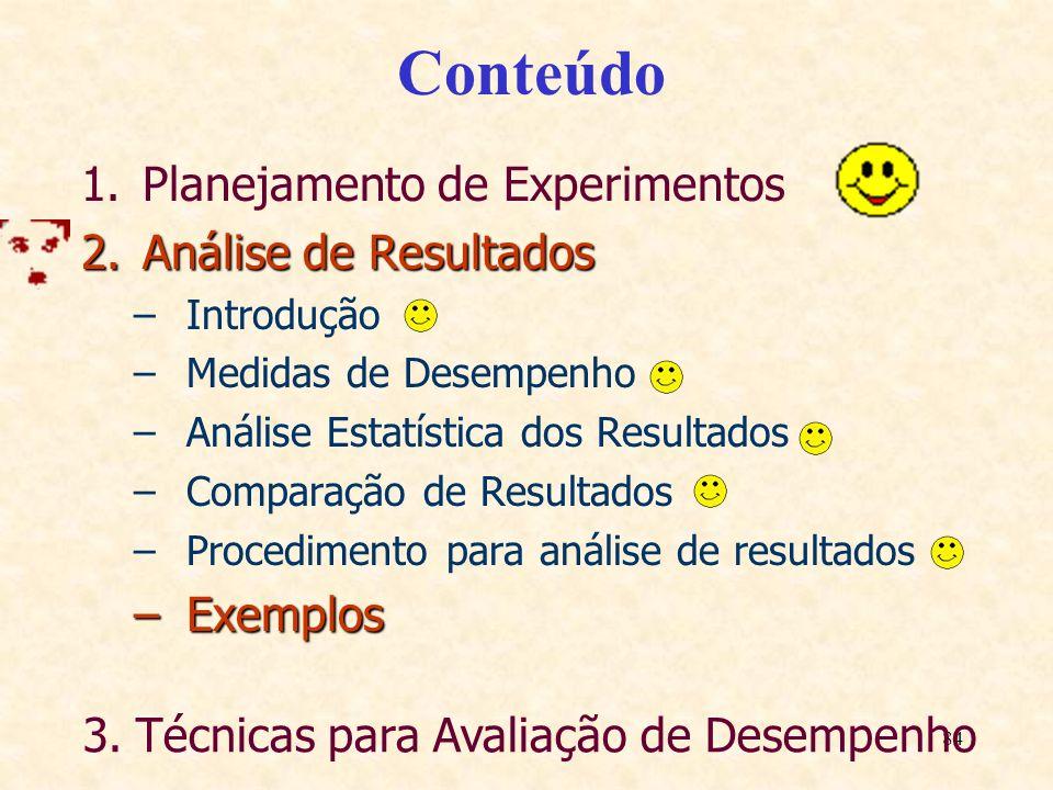 Conteúdo Planejamento de Experimentos Análise de Resultados Exemplos