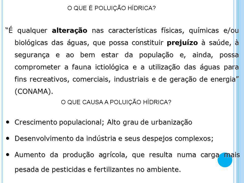 Crescimento populacional; Alto grau de urbanização