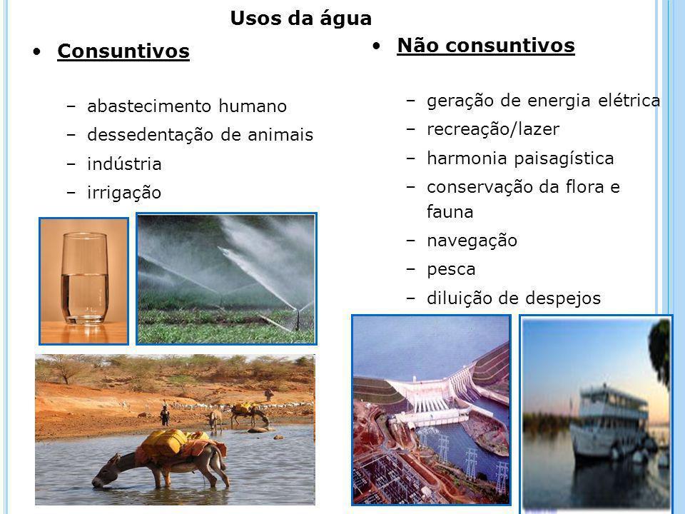 Usos da água Não consuntivos Consuntivos geração de energia elétrica