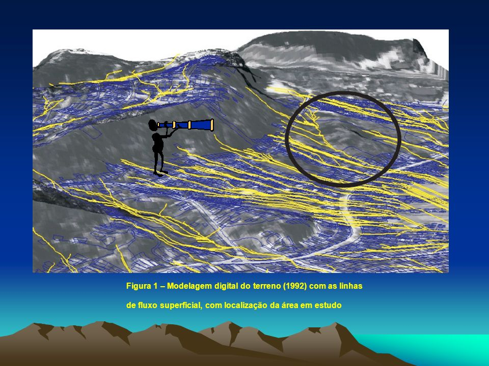 Figura 1 – Modelagem digital do terreno (1992) com as linhas