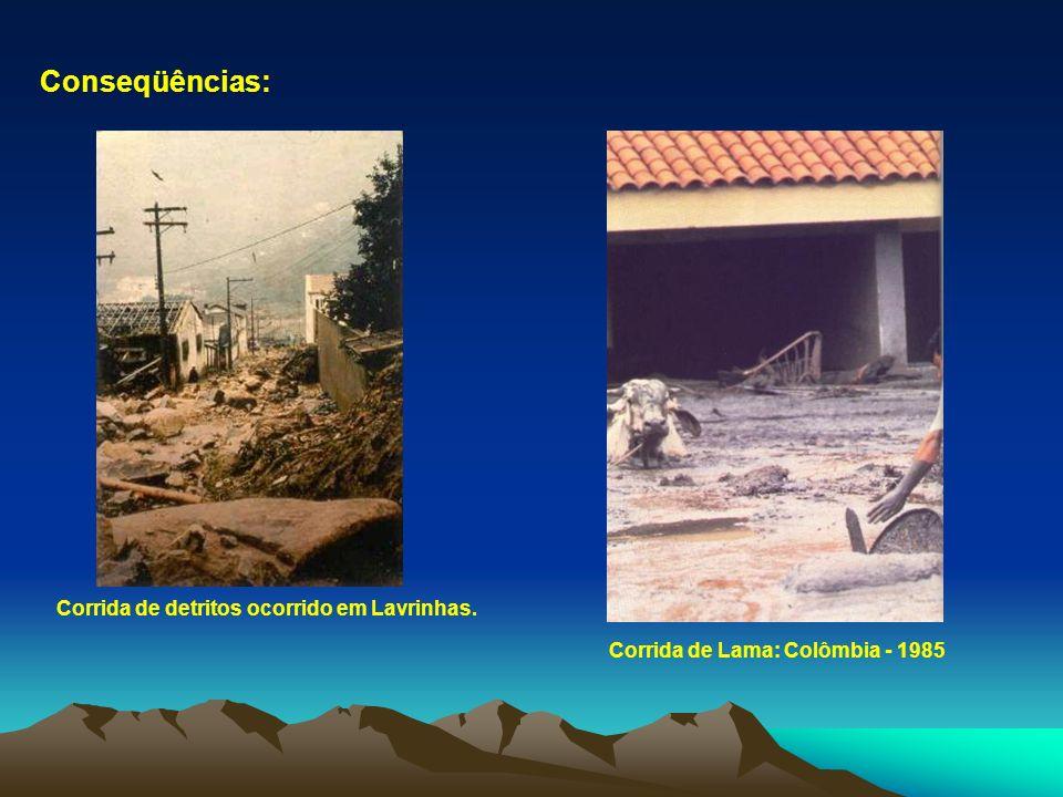 Conseqüências: Corrida de detritos ocorrido em Lavrinhas.