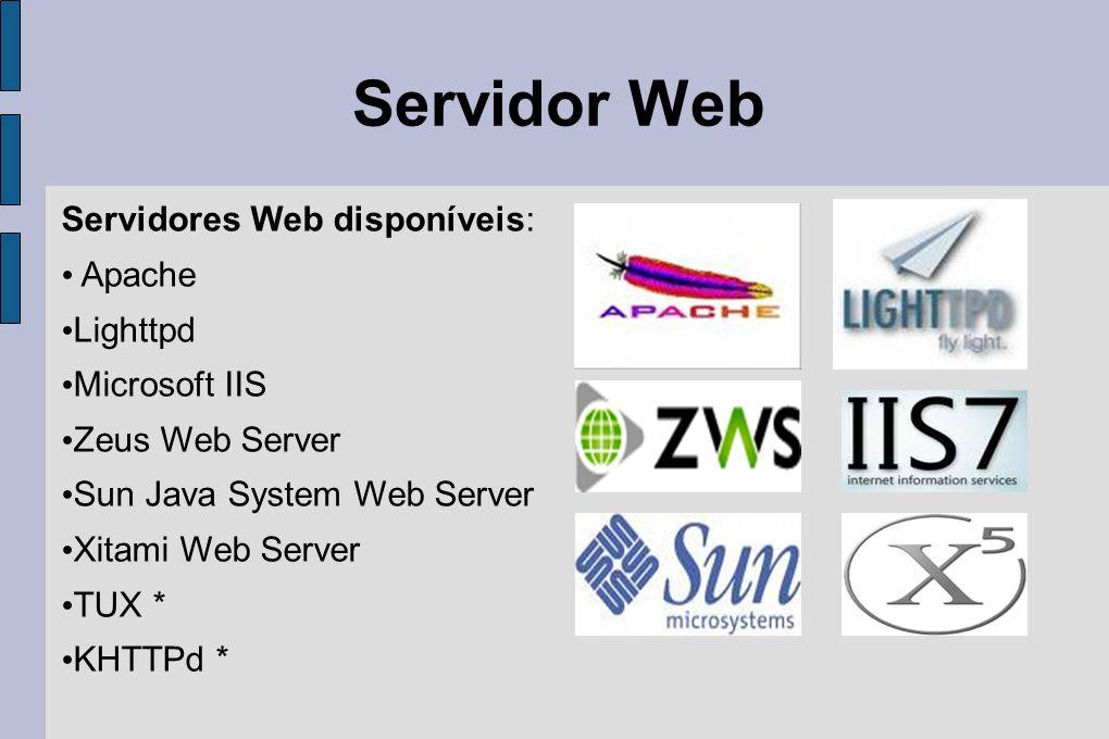 Servidor Web Servidores Web disponíveis: Apache Lighttpd Microsoft IIS