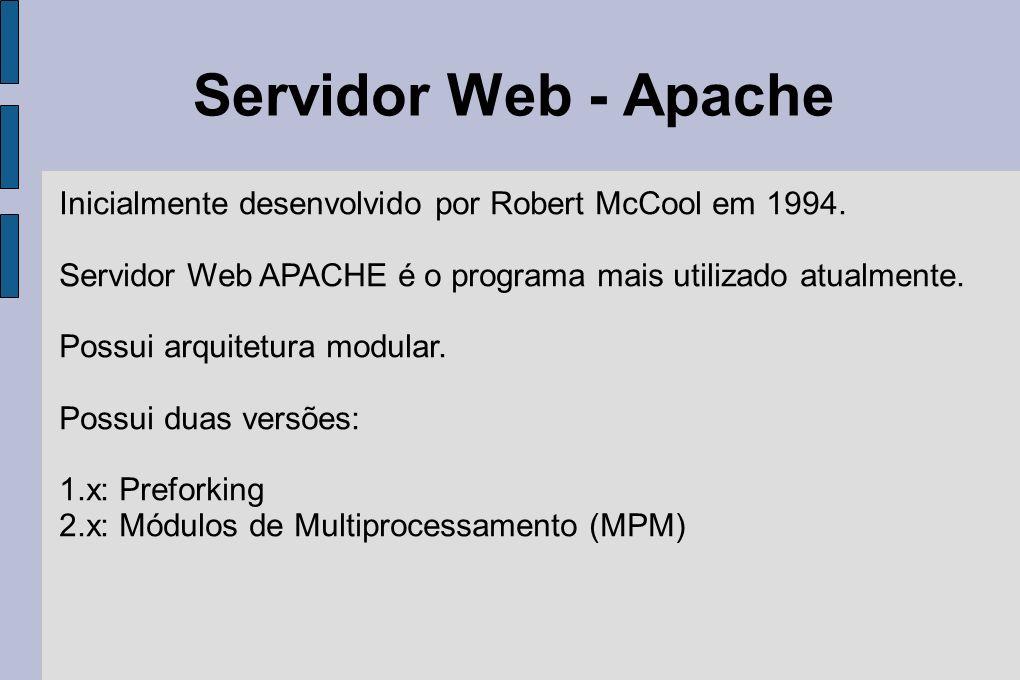 Servidor Web - Apache Inicialmente desenvolvido por Robert McCool em 1994. Servidor Web APACHE é o programa mais utilizado atualmente.