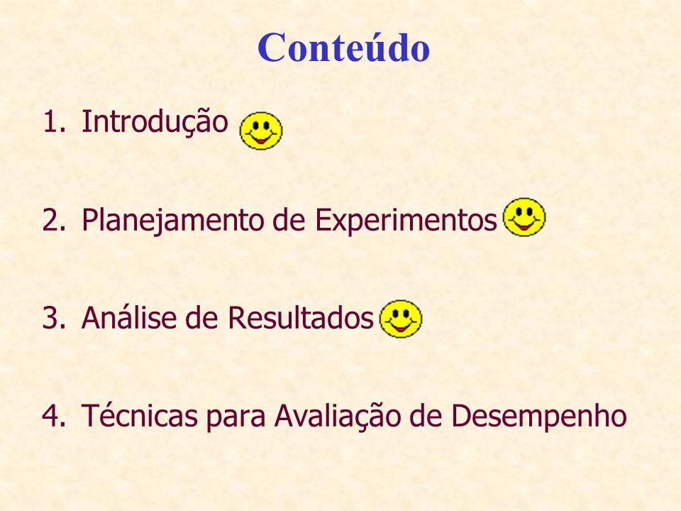 Conteúdo Introdução Planejamento de Experimentos Análise de Resultados