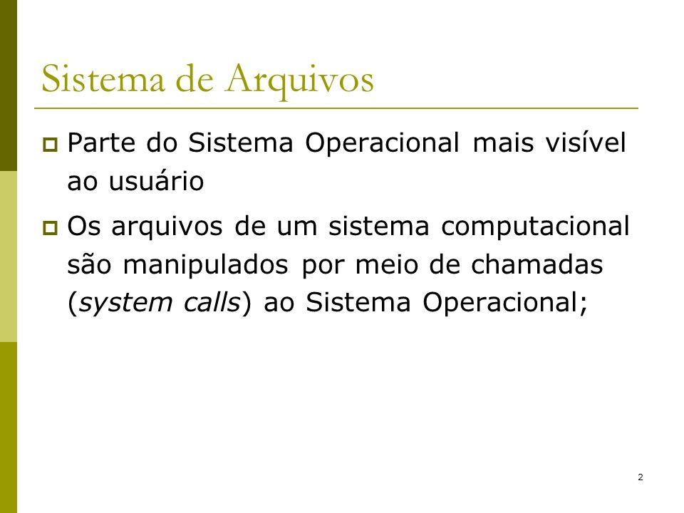 Sistema de ArquivosParte do Sistema Operacional mais visível ao usuário.