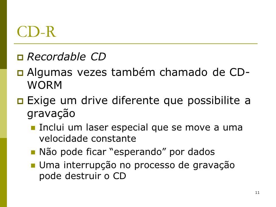 CD-R Recordable CD Algumas vezes também chamado de CD-WORM