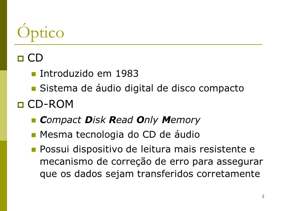 Óptico CD CD-ROM Introduzido em 1983