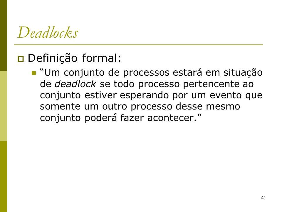 Deadlocks Definição formal: