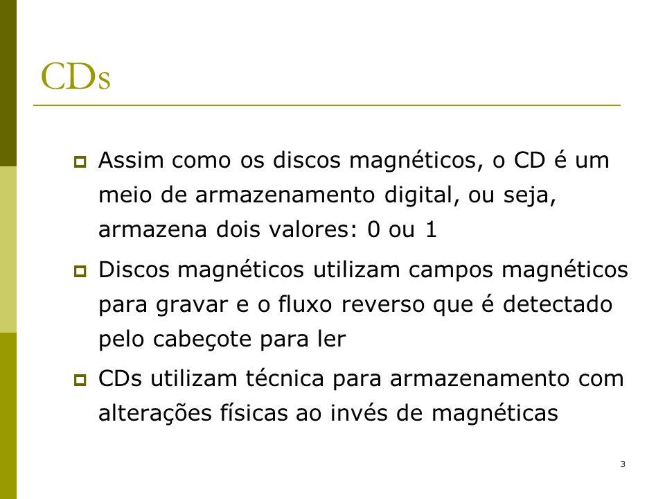 CDs Assim como os discos magnéticos, o CD é um meio de armazenamento digital, ou seja, armazena dois valores: 0 ou 1.
