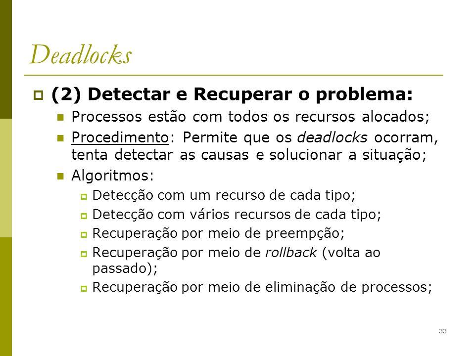 Deadlocks (2) Detectar e Recuperar o problema: