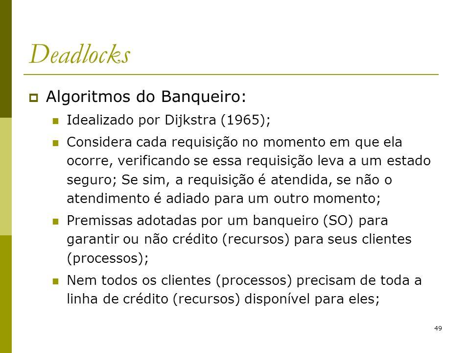 Deadlocks Algoritmos do Banqueiro: Idealizado por Dijkstra (1965);