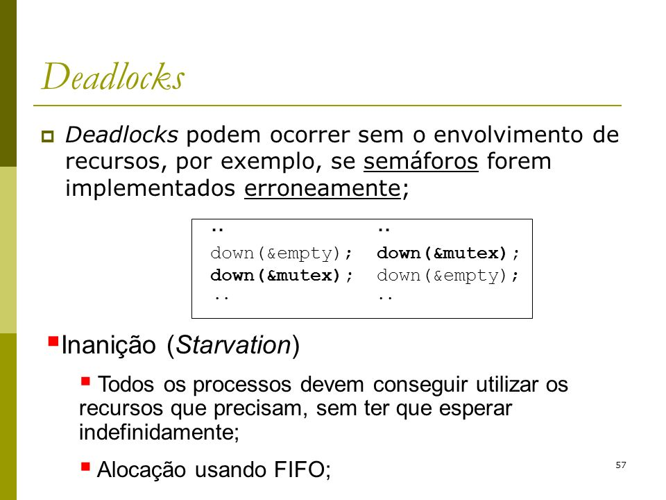 Deadlocks Inanição (Starvation)